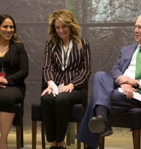 Chapman students sitting with President George W. Bush