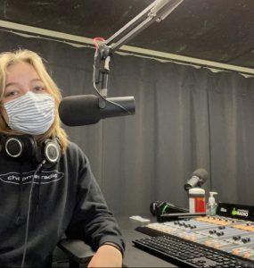 Sylvie Messing '21 in the new Chapman Radio studio.