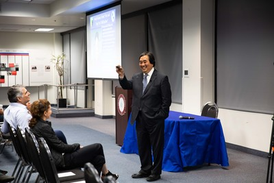 """Chapman University's first Phi Beta Kappa Visiting Scholar, Dr. Harold Koh of Yale University, speaks about """"The Trump Administration and International Law"""" in the George H. W. Bush Conference Center in Beckman Hall."""
