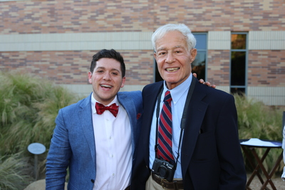 Student inductee Vidal Arroyo poses with Trustee David Henley at the 2019 Installation and Induction Ceremony of the Psi of California Chapter at Chapman University.