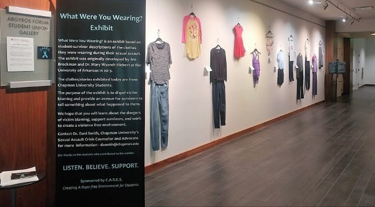 "Exhibition called ""What Were You Wearing"" displayed on walls in Argyros Forum"