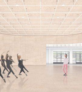 Architect's conceptual rendering of large dance studio.