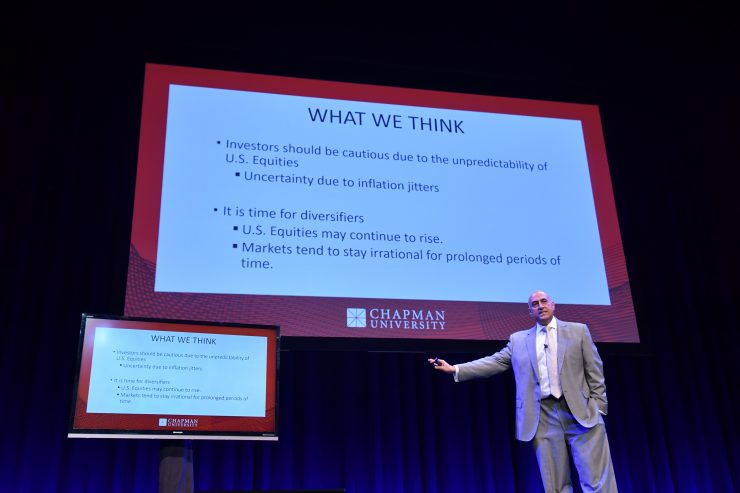 Chapman Professor Fadel Lawandy on Musco Center stage as he discusses investment strategies for the new economy during Chapman's Economic Forecast Update.
