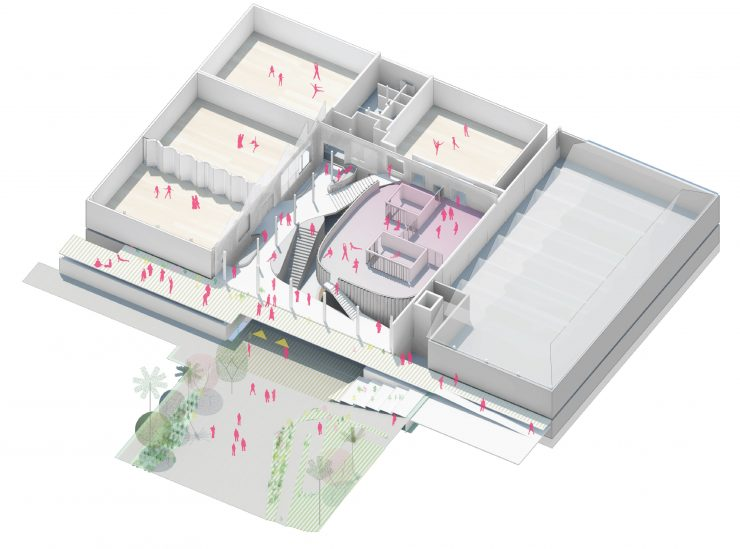 Architect's conceptual rendering of dance center.