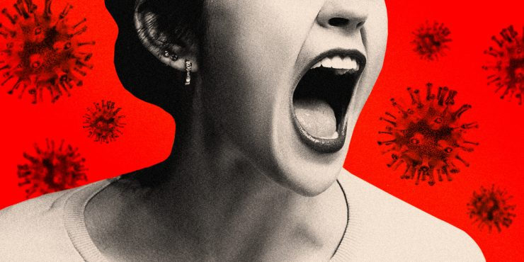 Screaming woman against red COVID-19 backdrop.