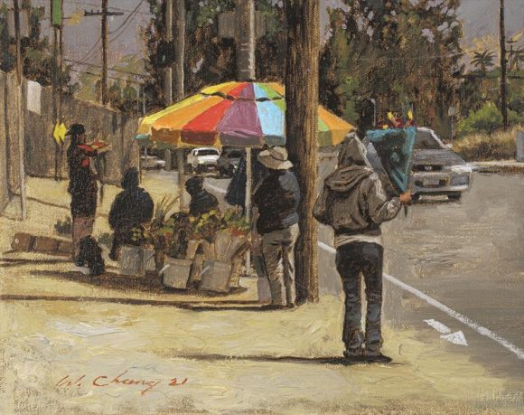 Oil painting of flower stand on street.