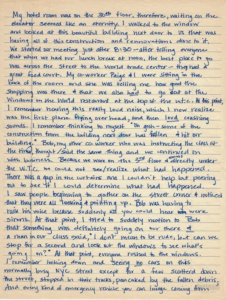 full page of hand written letter