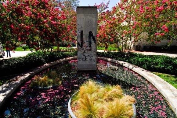 A piece of the Berlin Wall in Chapman University's Liberty Plaza