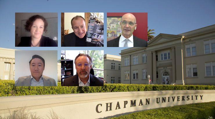 image of professor portraits overlaid on chapman university entrance photo