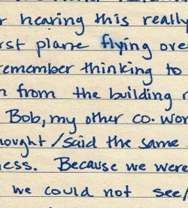 portion of handwritten 9/11 recollection