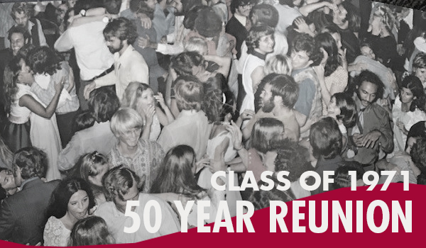 vintage black and white picture of large group at a party and a caption readin Class of 1971 50 Year Reunion