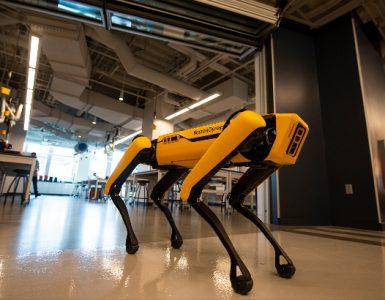 Robot dog exits lab at Keck Center